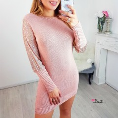 Robe-pull manches perles strass rose
