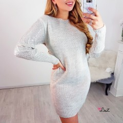 Robe-pull manches perles strass beige