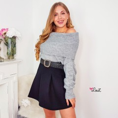 Pull col bateau maille gris