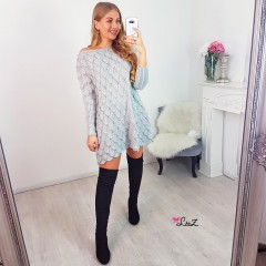 Robe-pull maille ajourée grise
