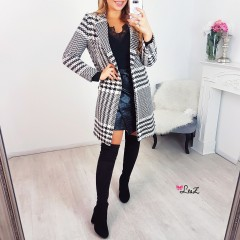 Manteau long pied de poule