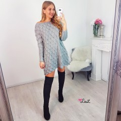 Robe-pull maille ajourée gris souris