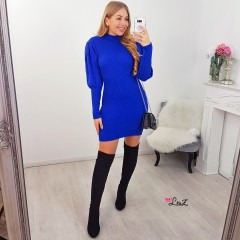 Robe-pull col montant manches bouffantes bleue
