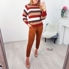 Pull rayures autumn vibes camel