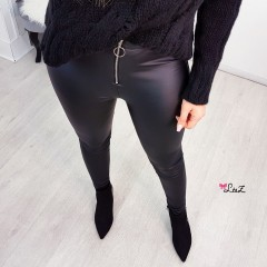 Slim legging tirette simili cuir noir