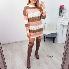 Robe-pull rayures ajourée rose & taupe