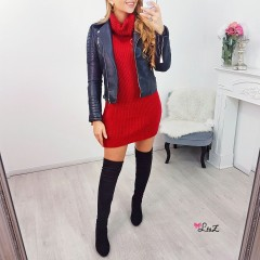 Robe-pull col large tendance rouge