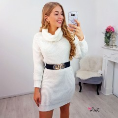 Robe-pull col large tendance blanc
