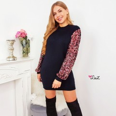 Robe-pull noire manche sequin all colors