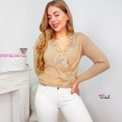 Pull doudou & cache-coeur dentelle taupe