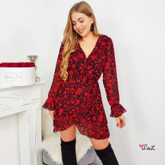 Robe porte-feuille fluide red flower