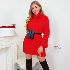 Robe-pull maille droite & serrée rouge