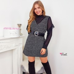 Robe chemisier insertion tweed noir