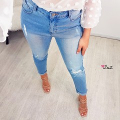Jeans mom fit taille haute light blue