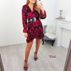 Robe cache-coeur fluide red flower