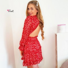 Robe petits froufrous & dos ouvert rouge