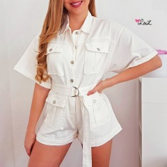 Combishort oversized total jeans blanc
