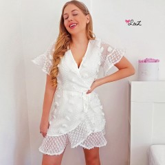 Robe pompons chic porte-feuille blanche