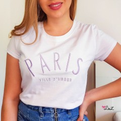 T-shirt Paris ville d'Amour lilas