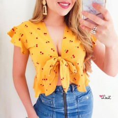 Top à nouer mini cherry jaune