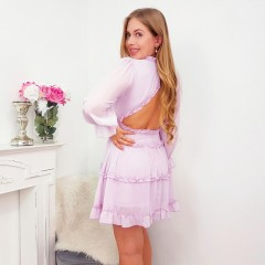 Robe petits froufrous & dos ouvert lilas
