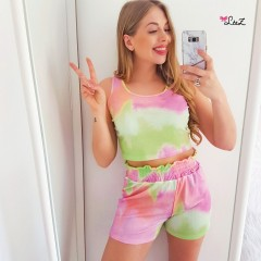 Ensemble top + short tie & dye rose