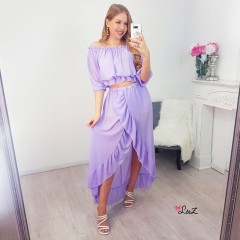 Ensemble top & jupe à volants lilas