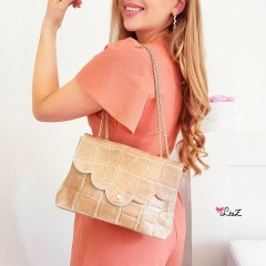 Pochette Mary nude & gold