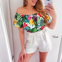 Top bustier tropical blanc