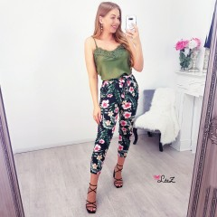 Pantalon flower tropic noir