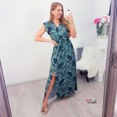 Robe longue tropical kaki