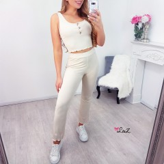 Ensemble comfy top & pantalon fluide nude