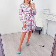 Robe fluide colorful bb blue & corail