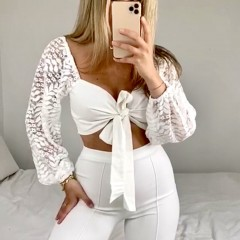 Crop top manches dentelle white