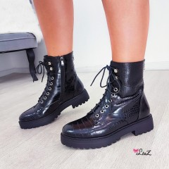 Bottines motardes croco vernies noires