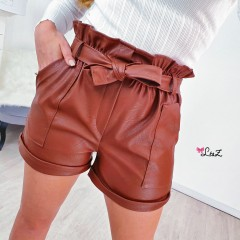 Short simili cuir marron