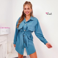 Robe chemise must-have grandes poches bleu