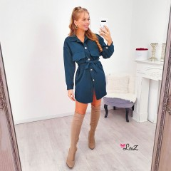 Robe chemise must-have grandes poches vert canard