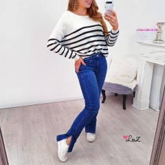 Jeans mom fit fendu dark blue