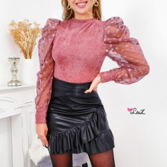Pull matière douce & manches pois rose