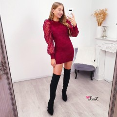 Robe matière douce & manches pois rouge