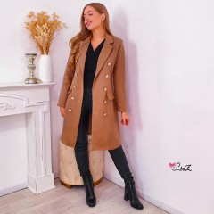 Manteau long chic double bouton camel