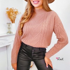 Pull must-have maille tressée camel