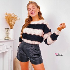 Pull maille rayure black & gold