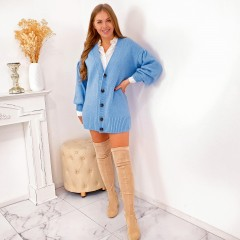 Cardigan long bleu