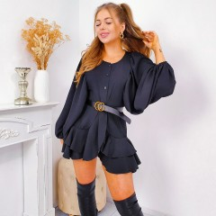 Robe manches loose & triple volants noir