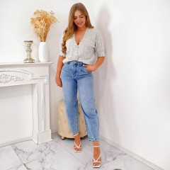 Jeans oversize à pinces light blue