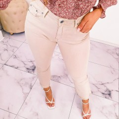 Jeans flare elasthanne nude