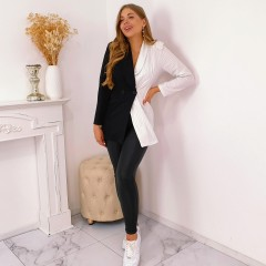 Blazer bi-color blanc