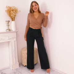Pantalon over large fluide noir